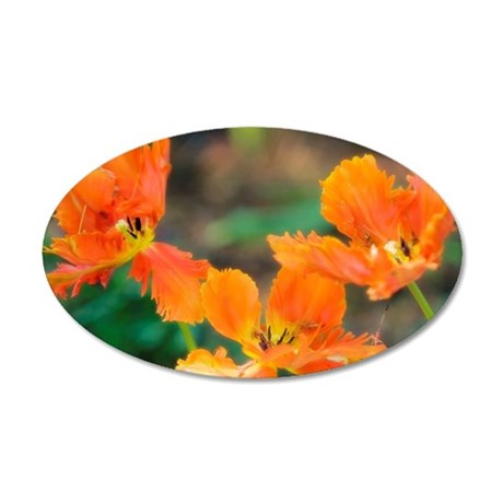 Orange Tulip Trio. Parrot Tu 35x21 Oval Wall Decal