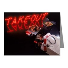 Neon take-out sign with asia Note Cards (Pk of 20)