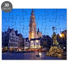 'Grote Markt' statue and Cathedral at dusk Puzzle