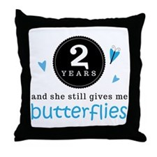 2 Year Anniversary Butterfly Throw Pillow