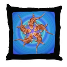 Baby Bearded Dragon Throw Pillow (blue)