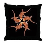 Baby Bearded dragon throw pillow (black)