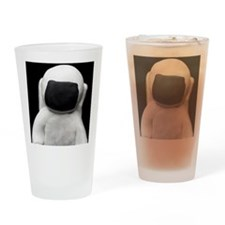 Astronaut made of clay on a black b Drinking Glass