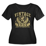 Vintage 1957 Women's Plus Size Scoop Neck Dark T-S