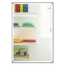 Files on shelves above fish tank Banner