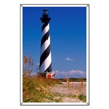 Cape Hatteras Lighthouse on the beach of No Banner