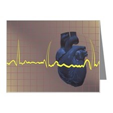 Electrocardiogram over a hum Note Cards (Pk of 10)