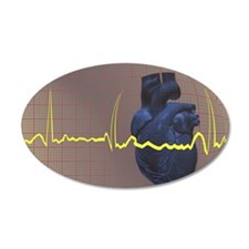 Electrocardiogram over a hum Wall Decal