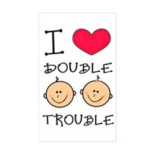 Twins Girl & Boy Rectangle Decal