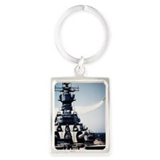 USS Missouri warship firing a To Portrait Keychain