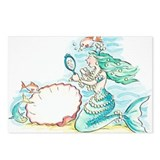 Green-haired mermaid wear Postcards (Package of 8)