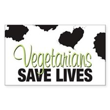 Vegetarians Save Lives Rectangle Stickers