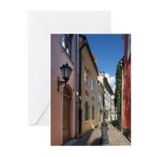 Street in old town of Ri Greeting Cards (Pk of 10)