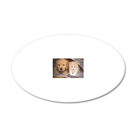 Golden Retriever and Cat 20x12 Oval Wall Decal