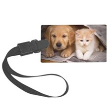 Golden Retriever and Cat Luggage Tag