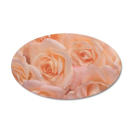 Close-up of peach-colored ro 35x21 Oval Wall Decal