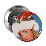 Candy Cane Elf Button