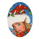 Candy Cane Elf Oval Ornament