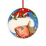 Candy Cane Elf Ornament (Round)