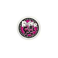 Rollergirl Skull Circle Pink Mini Button