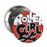 Rollergirl Skull Circle Red Button