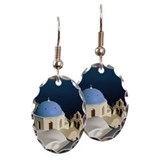 Church dome in Santorin, Greece Earring Oval Charm