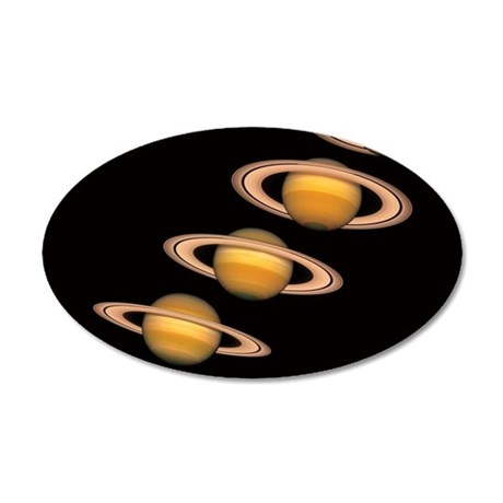 Views of Saturn Over the Yea 35x21 Oval Wall Decal