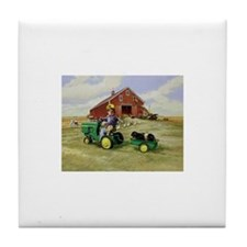 Cute Tractors Tile Coaster