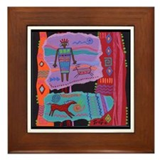 Funny Cave painting Framed Tile