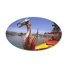 Dragon boat in a lake, Mifun Wall Decal
