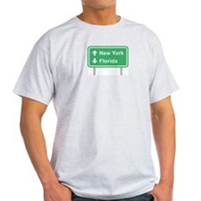 New York Florida Roadsign Ash Grey T-Shirt