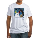 Snowman Unchains Dog Fitted T-Shirt