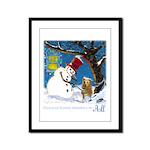 Snowman Unchains Dog Framed Panel Print