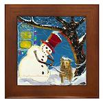 Snowman Unchains Dog Framed Tile