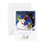 Snowman Unchains Dog Greeting Cards (Pk of 10)