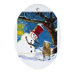 Snowman Unchains Dog Oval Ornament
