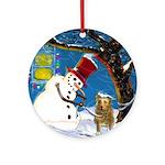 Snowman Unchains Dog Ornament (Round)