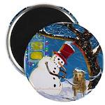 Snowman Unchains Dog Magnet