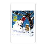 Snowman Unchains Dog Mini Poster Print