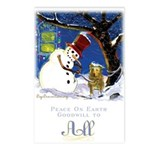 Snowman Unchains Dog Postcards (Package of 8)
