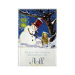Snowman Unchains Dog Rectangle Magnet (100 pack)