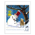 Snowman Unchains Dog Small Poster