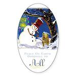 Snowman Unchains Dog Oval Sticker