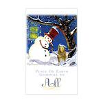 Snowman Unchains Dog Rectangle Sticker