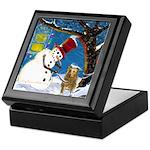 Snowman Unchains Dog Keepsake Box
