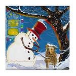 Snowman Unchains Dog Tile Coaster