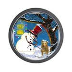 Snowman Unchains Dog Wall Clock