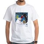 Snowman Unchains Dog White T-Shirt