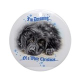 "Newfoundland ""White Christmas"" Ornament (Round)"