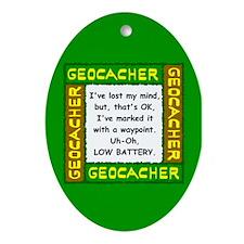 Green Geocacher Lost Mind Ornament (Oval)